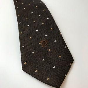 Men's VTG Pierre Cardin Neck Tie Brown 80s Vintage